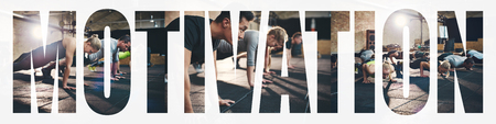 Collage of a group of fit young people doing pushups together on the floor of a gym with an overlay of the word motivation Stock Photo