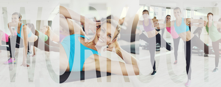 Collage of a group of fit young women in sportswear exercising together in a health club class with an overlay of the word workout