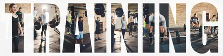 Collage of a diverse group of fit young people working out with heavy weights together at the gym with an overlay of the word training