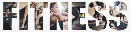 Collage de una mujer joven en forma centrada en levantar pesas durante una sesión de entrenamiento en el gimnasio con una superposición de la palabra fitness