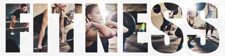 Collage of a fit young woman focused on lifting weights during a training session at the gym with an overlay of the word fitness Zdjęcie Seryjne - 114420227