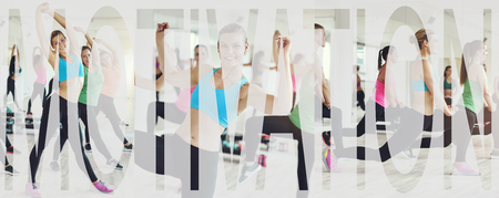 Collage of a group of fit young women in sportswear working out together in a gym class with an overlay of the word motivation