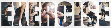 Collage of a fit young woman focused on lifting weights during a training session at the gym with an overlay of the word exercise