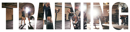 Collage of two fit young people in sportswear working out together with different gym equipment with an overlay of the word training