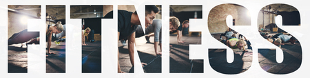 Collage of a group of fit young people doing pushups together on the floor of a gym with an overlay of the word fitness Stock Photo
