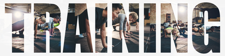 Collage of a group of fit young people doing pushups together on the floor of a gym with an overlay of the word training