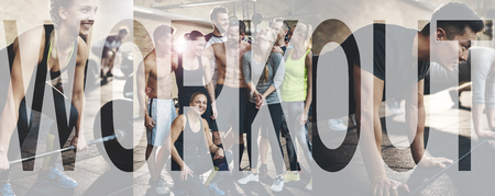 Collage of fit young people in exercise clothing training together at the gym with an overlay of the word workout