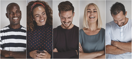 Collage of a group of ethnically diverse young entrepreneurs laughing while standing against a gray background