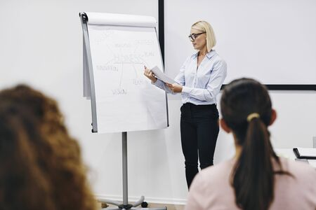 Manager reading documents during a flip chart presentation to her staff in an office meeting room