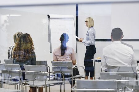 Young manager standing in an office meeting room explaining business concepts on a flip chart to a diverse group of staff Banque d'images