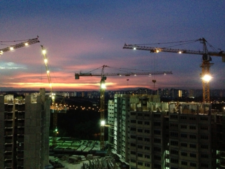construction: New blocks being built against the sunset Stock Photo