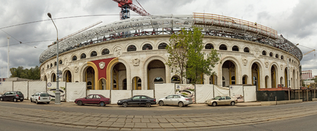 construction project: Minsk, Belarus. September 2017: reconstruction of stadium Dynamo. Preparing sports facilities to host the second European Olympic games in 2019. Editorial