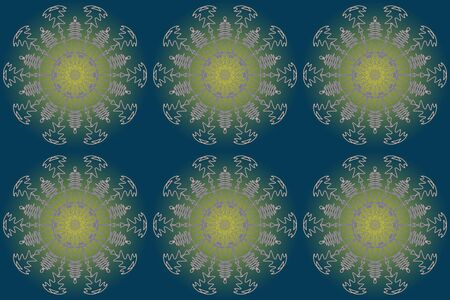 Abstract graphic pattern. A beautiful kaleidoscope of gradient blue and yellow seamless background. suitable for any design