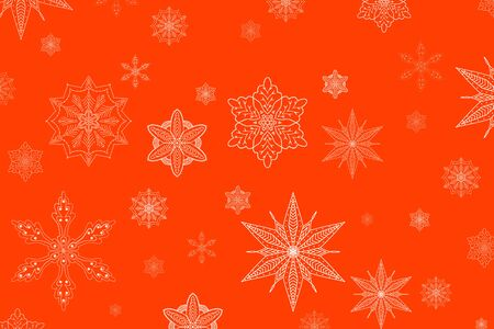 Abstract background color has white snowflakes of different shapes and sizes. Beautiful red new year, Christmas background.