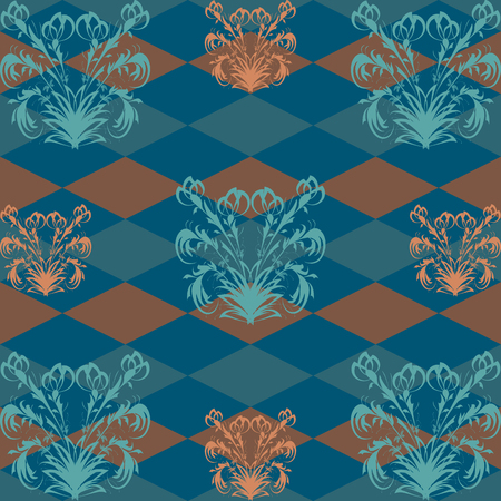 rob: Seamless pattern with orange flower pattern on a dark blue Rob in the background texture Illustration