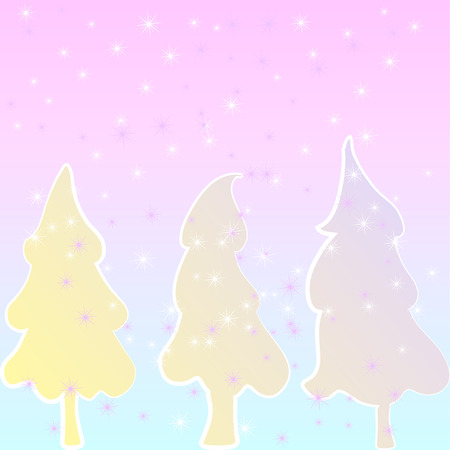 snow chain: Christmas tree with Christmas decorations, yellow pink gradient