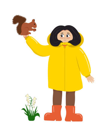 A little girl in a yellow raincoat and rubber boots holds a squirrel that eats a nut. Bells bloom underfoot. Flat illustration isolated on white background in vector.