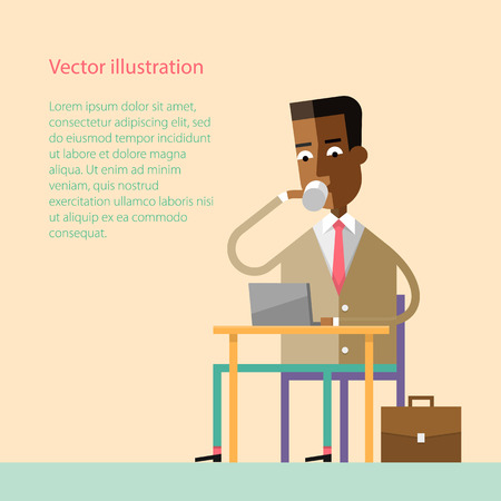 american table: Handsome african american businessman drinking coffee at a table with a laptop. Coffee break. Vector illustration. Style flat.