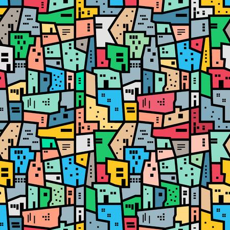 abstrakte muster: Brasilianischen Favela. Landschaft mit Stadt-Blöcke. Bright farbigen nahtlose Muster. Vector Hintergrund.