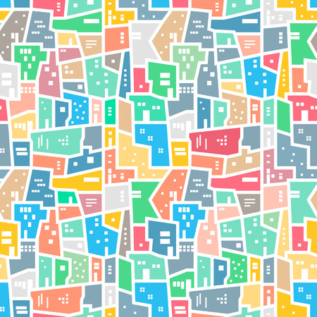 neighborhood: Brazilian favela. Landscape with city blocks. Bright colored seamless pattern. Vector background.