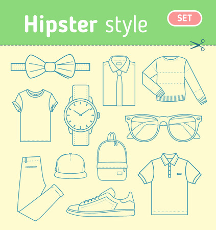 men's clothing: Hipster fashion look. Set of mens clothing and accessories in hipster style. Stock vector illustration.