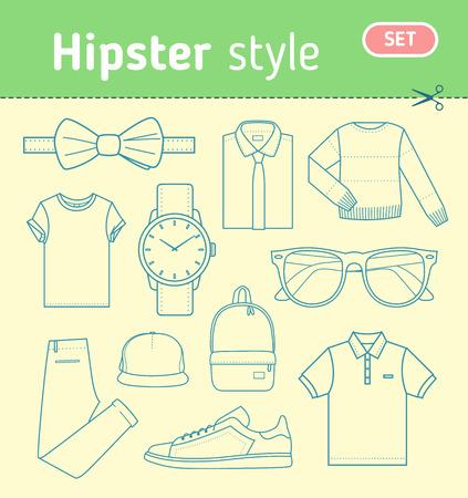 regard: Regard de la mode hippie. Ensemble de v�tements pour hommes et accessoires de style hipster. Stock illustration vectorielle. Illustration
