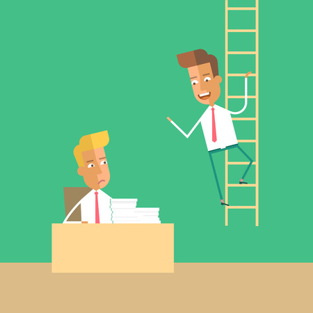 preferment: Career development. Envy of colleagues. Man climbs up the stairs. Promotion. Vector stock illustration. Illustration