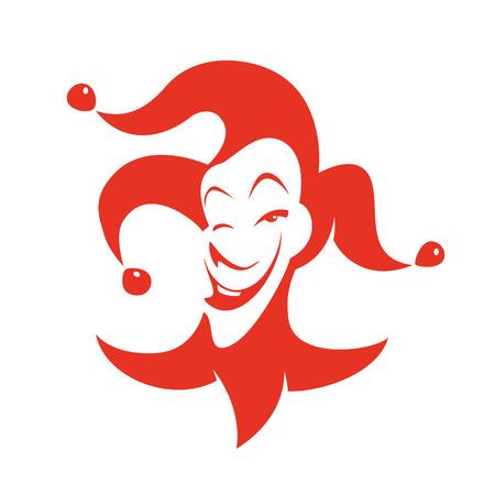 tonto: Bromista rojo con una mirada astuta y sonre�r. Vector dibujado a mano ilustraci�n - payaso en campanas Con todo sombrero.