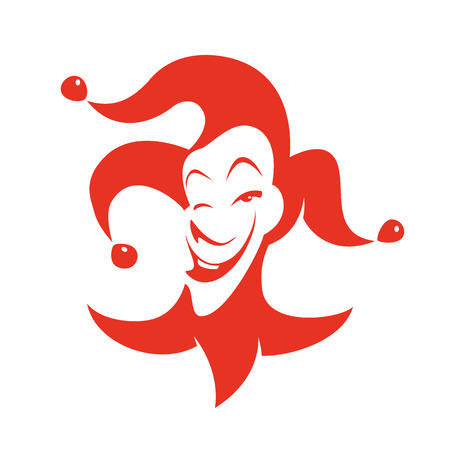 carnival costume: Red joker with a sly look and smile. Vector hand drawn illustration - clown in hat withal bells.