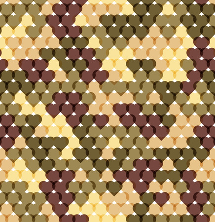 Military romantic seamless pattern of hearts khaki. Unusual background for Valentines Day. Original camo texture. 矢量图像