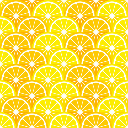 Vector seamless pattern with lemon and orange slices in the style of  flat. Illustration