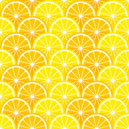 limón: Vector sin patrón con rodajas de limón y naranja en el estilo de piso.