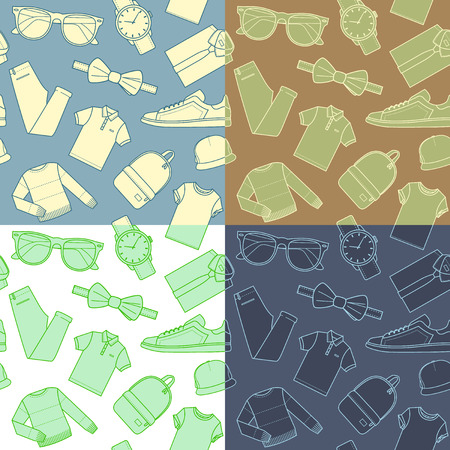 menswear: Set of seamless patterns mens clothing and accessories. Collection of menswear backgrounds. Vector. Illustration