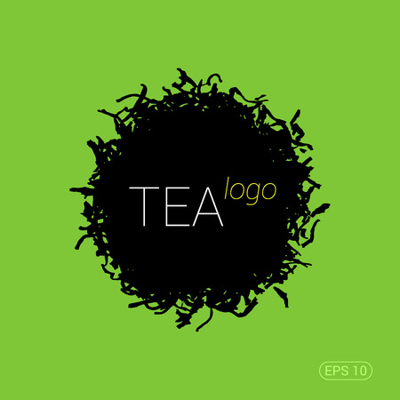 ceylon: Modern trendy for tea shop, teahouse or tea company. Silhouette of tea leaves. Stock vector.