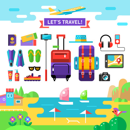 suit case: Summertime traveling template with sea, beach and vocations accessories - suit case, backpack, camera, selfie stick, sun cream etc. Set holidays icons. Vector flat background and objects illustration.