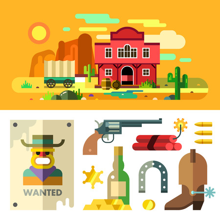 gold rush: Wild West landscape, icons, objects and elements: revolver, cactus, wagon, dynamite, bullets, horseshoe, saloon, house, mountains, desert,  gold bar. Gold Rush. Wanted. Flat. Illustration clipart.