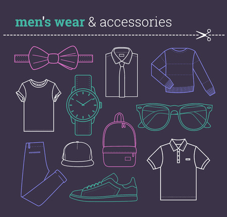 trendy male: Set of trendy mens wear and accessories Pack of fashionable male apparels elements thin line in hipster style Collection of stock vector clipart Illustration