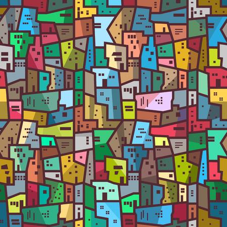 Colorido patrón abstracto urbano. Perfecta textura brillante con paisaje de la ciudad, bloques y casas. Vector de fondo, estilo plano. Ilustración de vector
