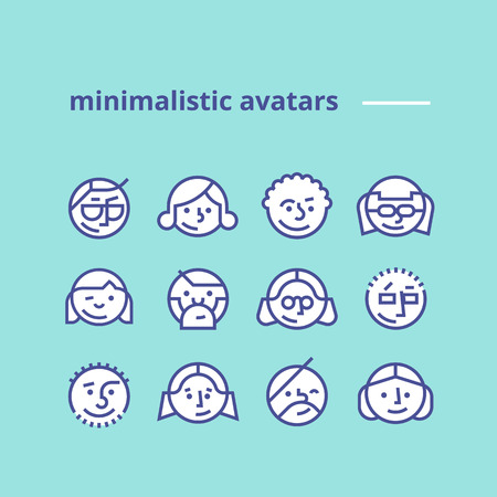 man symbol: Set of geometric minimalist avatars icons for web site or social network Simple and clean modern design Hipster style Pack of trendy monochrome icons Line art Stock vector