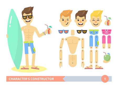 piernas hombre: Kit de car�cter editable: ajuste joven sexy en la playa en pantalones cortos. Animaci�n plana listo vector mu�eca personalizable con juntas separadas. Gestos adicionales, expresiones faciales y art�culos. Chico Surfer. Apartamento