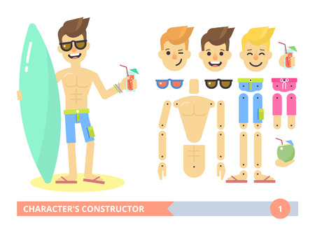 Editable characters kit: young fit sexy man on the beach in shorts. Flat animation ready vector customizable doll with separate joints. Extra gestures, facial expressions and items. Surfer guy. Flat Illustration