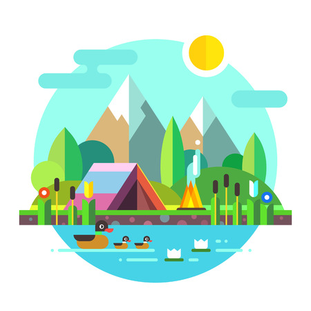 nature vector: Summer landscape: tent and bonfire in mountains near lake. Solitude in nature by the river. Flowers, ducks. Hiking and camping. Stock vector illustration, style flat.