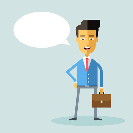asian manager: Handsome asian businessman in formal suit with a briefcase. Successful happy manager. Cartoon character. Vector stock illustration. Style flat. Illustration
