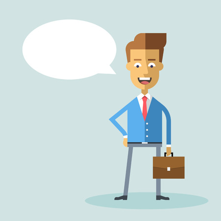 businessman suit: Handsome businessman in formal suit with a briefcase. Successful happy manager. Cartoon character. Vector stock illustration. Style flat. Illustration