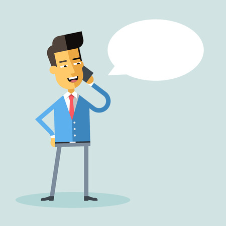 asian manager: Handsome asian businessman in formal suit talking on the phone. Manager talking on cell phone. Cartoon character - asian businessman. Vector illustration. Style flat.