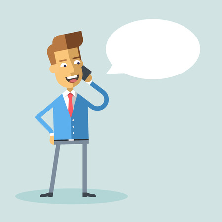 phone and call: Handsome businessman in formal suit talking on the phone.  Successful happy manager talking on cell phone. Vector stock illustration style flat. Illustration