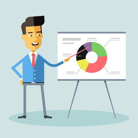 business meeting asian: Handsome asian manager gives a presentation and shows a diagram Cartoon character - asian businessman Suit and tie Report, training Stock vector illustration style flat