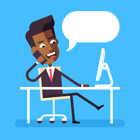 Handsome african american manager in formal suit sitting legs crossed at the desk with a computer and talking on cell phone. Cartoon character - cute businessman. Stock flat vector illustration. Stock Illustratie
