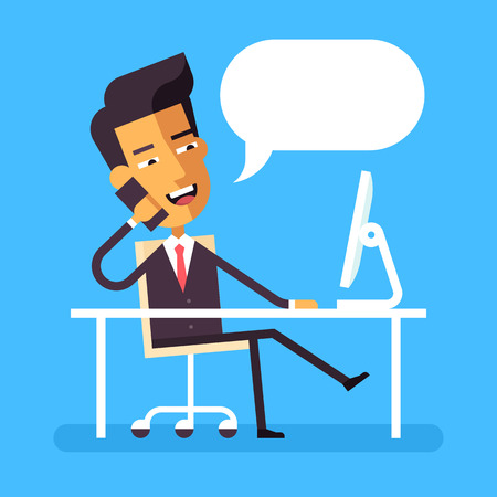 phone conversations: Handsome asian manager in formal suit sitting legs crossed at the desk with a computer and talking on cell phone. Cartoon character - asian businessman. Stock vector illustration style flat.