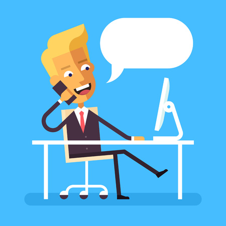 legs crossed: Handsome blonde manager in formal suit sitting legs crossed at the desk with a computer and talking on cell phone. Cartoon character - businessman. Stock vector illustration style flat.